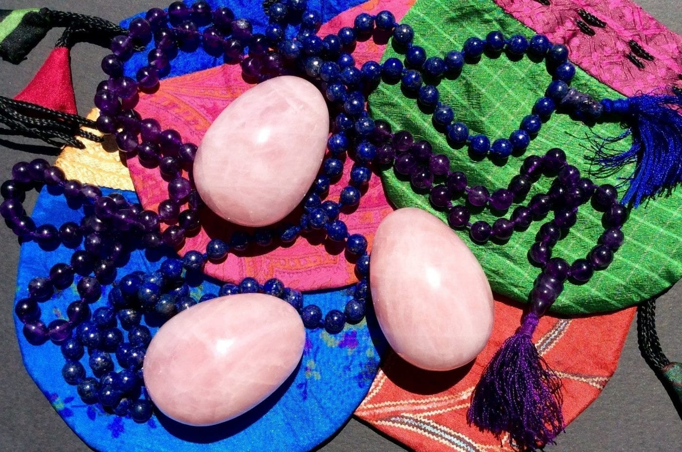 3 eggs, mala, and silk pouches